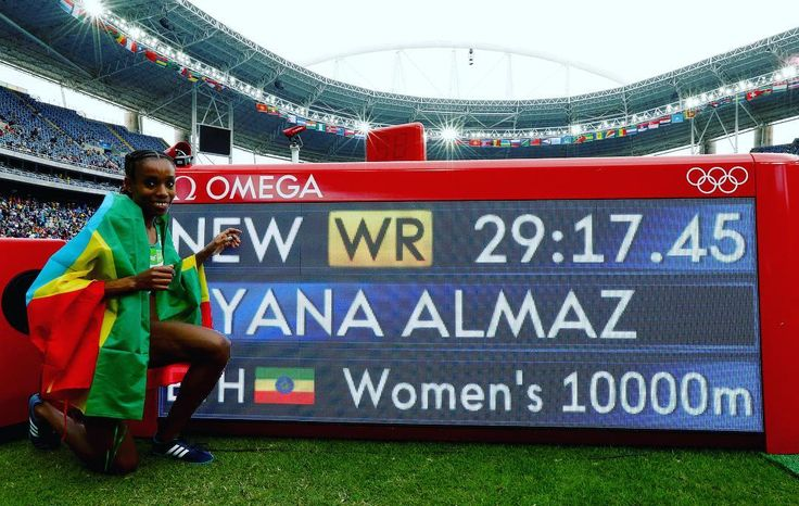 olympicsWorld Record! Almaz Ayana of Ethiopia celebrates winning the Women's 10,000m final and setting a new world record of 29:17.45 at the Olympic Stadium. Photo: Getty Images