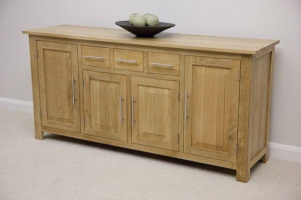Rivermead Natural Solid Oak Large Sideboard   Oak Furniture Land