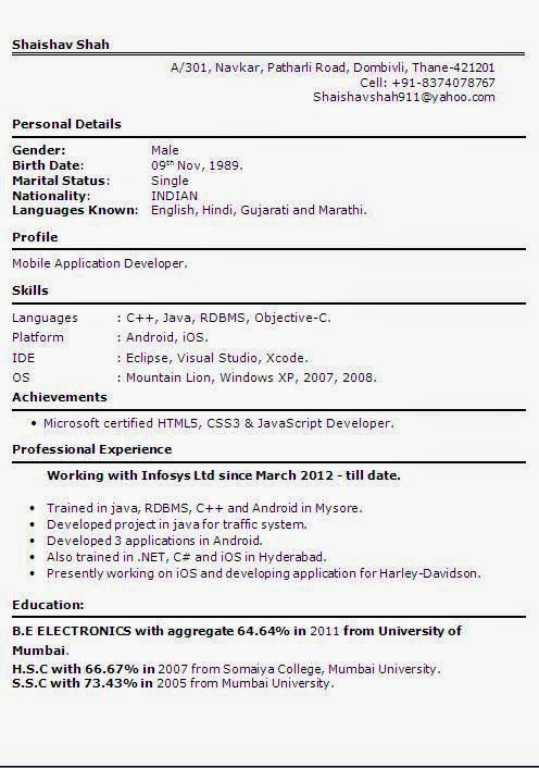 curriculum vitae pdf format Beautiful Excellent Professional - indian resume format