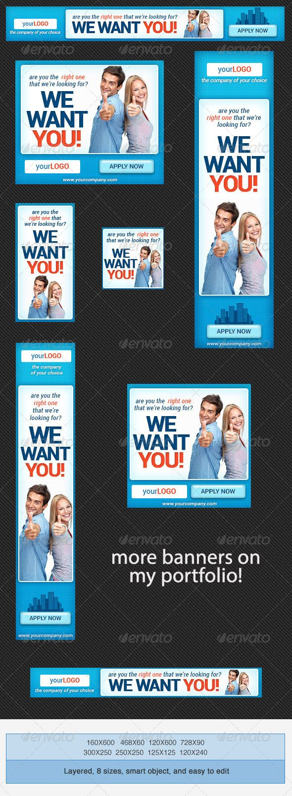 Corporate PSD Banner Ad Template 4 #GraphicRiver Here's another set of PSD Banner Ad Template Banner Ad Sizes leaderboard (728×90) banner (468×60) button (125×125) skyscraper (120×600) wide skyscraper (160×600) vertical banner (120×240) square (250×250) medium rectangle (300×250) Banner Ad Templates Usage Web Advertisement Google Adwords Online Advertising Campaign Marketing Affiliate Marketing Business and Finance Business and Commercial Insurance Corporate Law Strategy Planning Outsourcing…