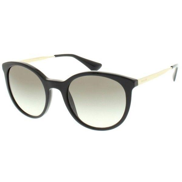 Prada Sunglasses, PR 0PR 17SS 53 1AB0A7 Sunglasses (€190) ❤ liked on Polyvore featuring accessories, eyewear, sunglasses, black, prada eyewear, prada, gradient lens sunglasses, lens glasses and prada glasses