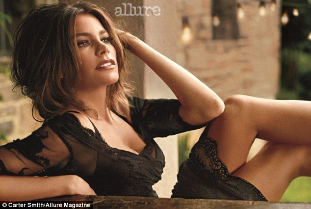 Seductive: Sofia Vergara shows off her curves in a slinky dress in a photoshoot for Allure magazine (September 2012 issue) ~ Racy in lace: The 40-year-old also slips into this racy black lace number