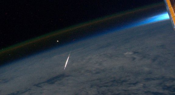 "NASA astronaut Ron Garan photographs a ""shooting star"" during the Perseid meteor shower August 2011 from the ISS."