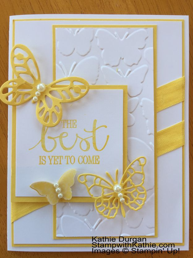 handcrafted card ... sunny white and yellow colors ... butterfly theme .. great design ... great card! ... Stampin' Up!