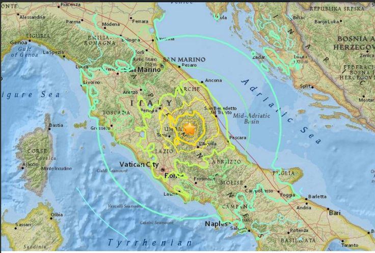 #Italia 0300am 24/8/2016 Región Central #Perugia #Terremoto Magnitd 6.2 Escala #Sismica Richter Intituto Geológico USA (#USCS) más de 25 muertos 101 desaparecidos, numerosas victimas y grandes destrozos en la Zona. Información en #Twitter