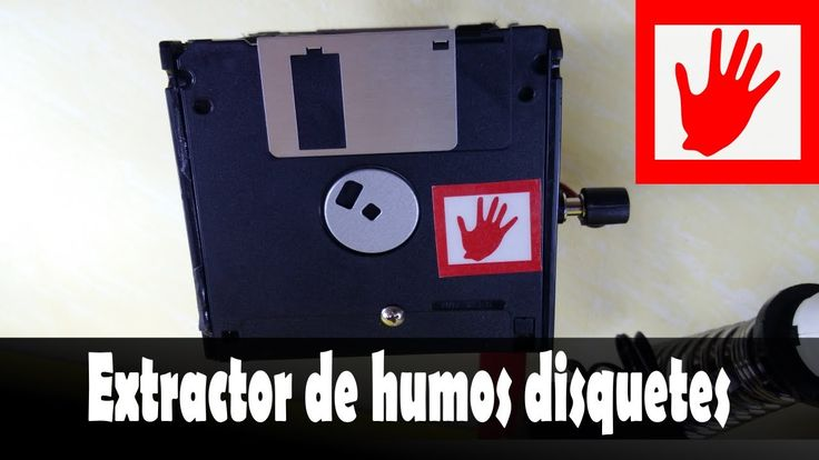 Extractor de humo casero para soldadura con estaño floppy disk disquetes