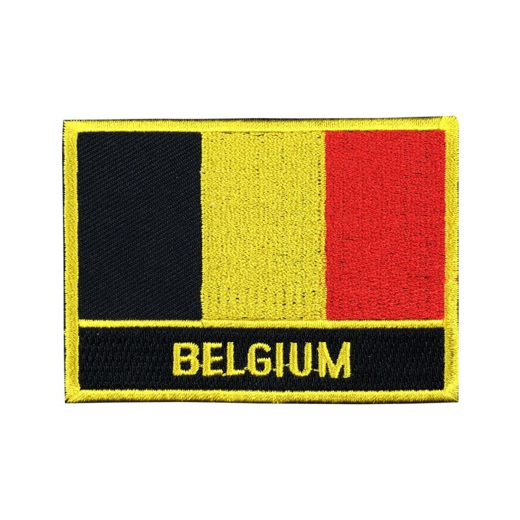 Belgium Flag Patch Embroidered Patch Gold Border Iron On patch Sew on Patch Bag Patch meet you on Fleckenworld.com