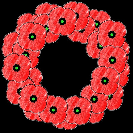 Poppy Wreath free template memorial day or remembrance day