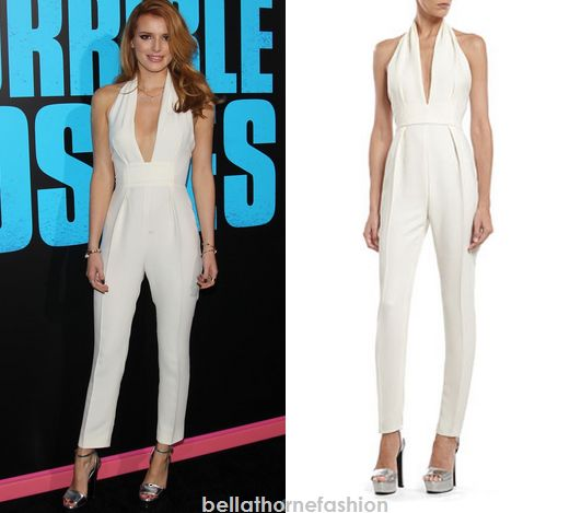 Bella Thorne wears this Gucci Pearl White Silk Cady Jumpsuit to the movie premiere of Horrible Bosses 2 at TCL Chinese Theatre.