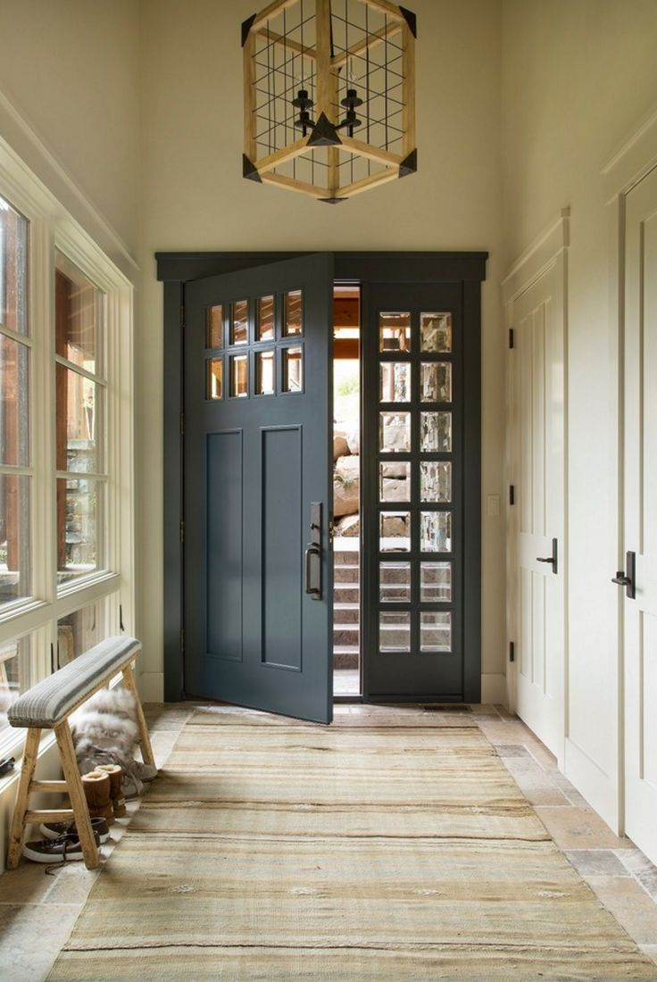 Entry black door, white trim