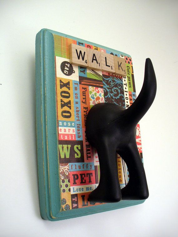 DogTail Leash Holder- with Optional Letter Tiles ~ pretty sure you could make this for way less than what they are selling them for