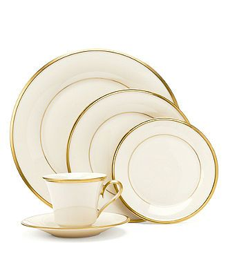"""Lenox """"Eternal"""" Dinnerware - Fine China - Forever elegant, the Eternal dinnerware collection from Lenox accents the table in timeless ivory china with sumptuous gold banding. Coordinates with Eternal Gold stemware.        Bone china      Dishwasher safe      Made in USA of imported materials"""