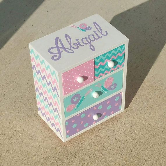 Joyería azul rosa y púrpura caja niña de por Thegiftsfromladybug