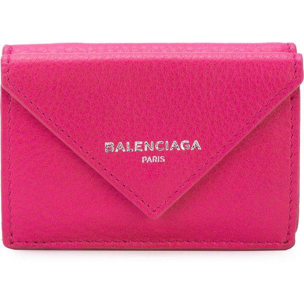 Balenciaga Papier Mini Wallet ($415) ❤ liked on Polyvore featuring bags, wallets, credit card holder wallet, real leather wallets, leather credit card holder wallet, balenciaga and snap closure wallet