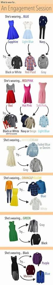 Some great colour combo ideas for when you are choosing your engagement session outfits! - Julia