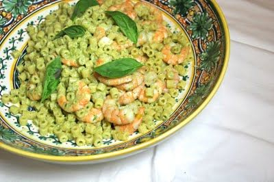 The Italian Dish - Pasta With Shrimp and SicilianPesto (love the method!! We made with fusilli instead but the salty boil water and shrimp shell and tomato stock were a MUST)