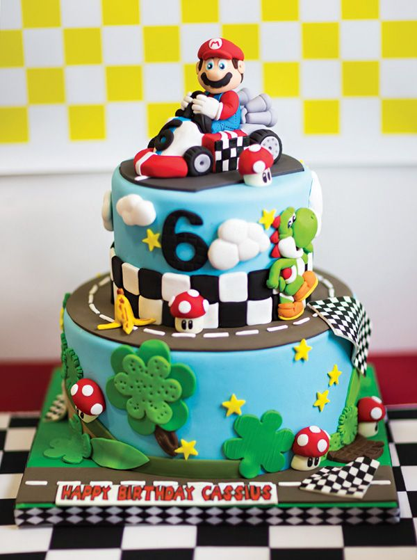 Amazing Mario Kart birthday cake