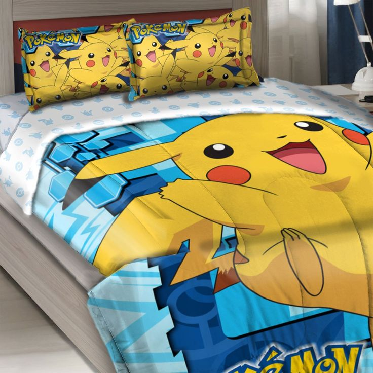 Pokemon Twin-Full Comforter Set Big Pikachu Bedding
