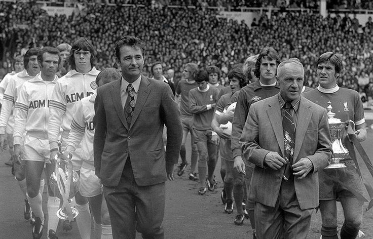 Shankly retired in 1974 – a decision he came to regret. He's pictured here leading out his side for the 1974 FA Charity Shield alongside Brian Clough, the new manager of Leeds United