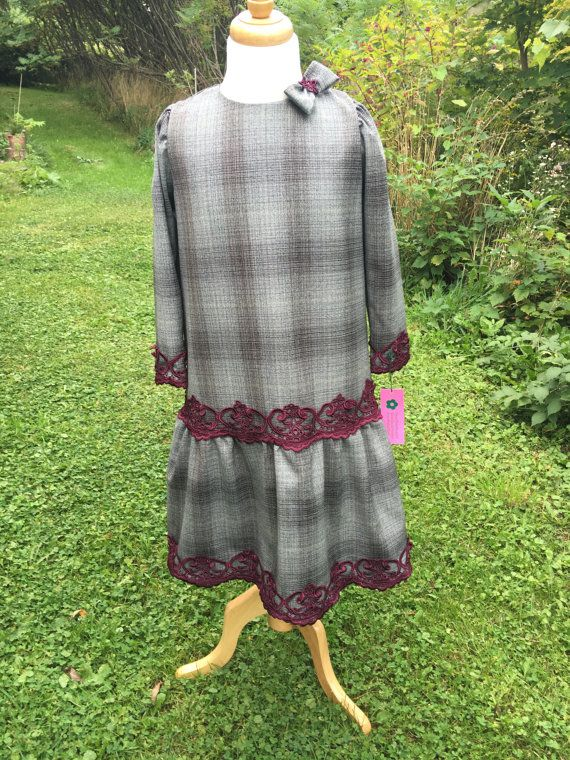 girls muslim wool dress with guipure lace by SmartStitchingllc3