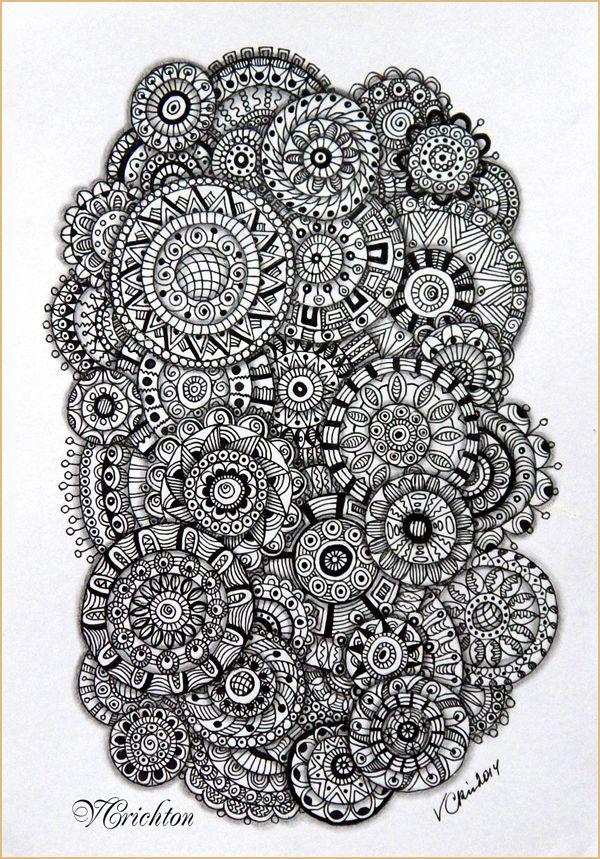 Zentangle, zendala, zendoodle, зендудл, graphic, hand-made, pattern, tangle, графика, зендала, узоры, рисование гелевой ручкой, черно-белая графика, зентангл, тангл, паттерн.