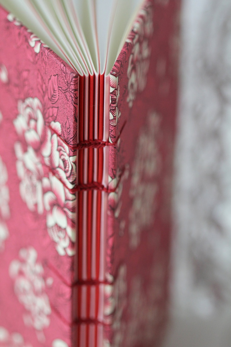 "Notebook / Coptic bookbinding / Journal ""Roses are red""."