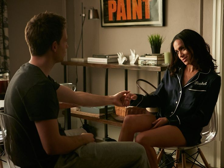 "Patrick J. Adams stars as Mike Ross and Meghan Markle stars as Rachel Zane in the Suits episode ""Breakfast, Lunch and Dinner."""