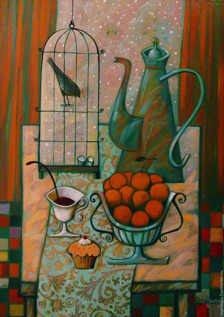 Купить УТРЕННИЙ КОФЕ 1-ОГО ЯНВАРЯ - морская волна, картина в подарок, картина на кухню