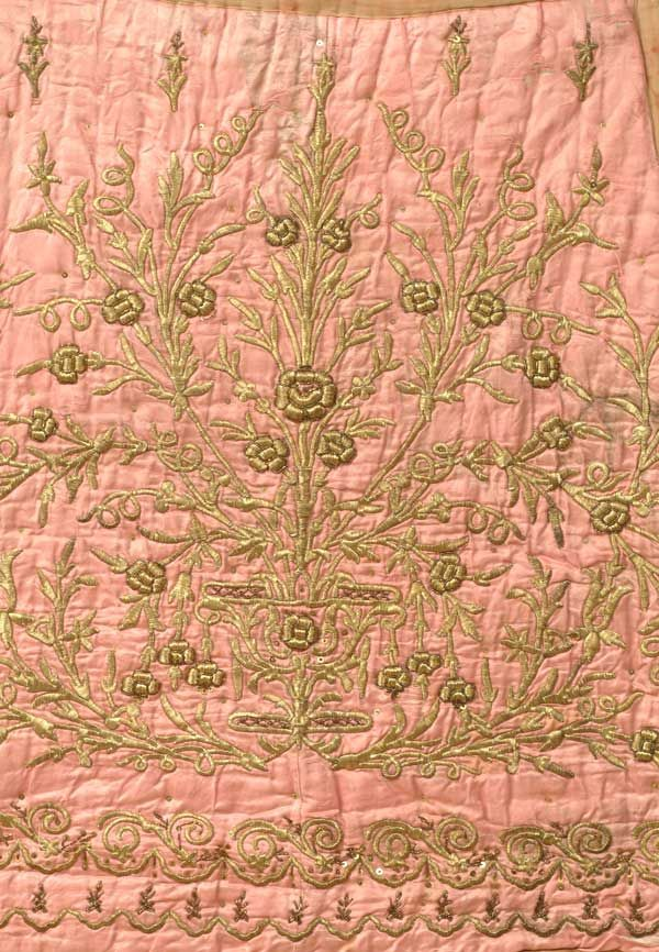 "Pink Satin Wall Hanging A quilted pink satin tapered square with a flowering plant design.   Ottoman Empire, 19th c., metallic thread on satin, some splitting of the ground, but otherwise good condition, 36"" x 48"""