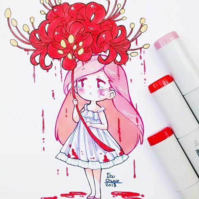 Licoris radiata* mejor conocida como la flor del infierno. . . Por un buen tiempo no podré pintar de manera eficiente con los copics Markers. Se me han secado la mayoría de los colores que más uso y por ello no puedo hacer mucha variedad de difuminación, por eso estaré pintado de manera plana; aunque en algunos casos podré hacer excepciones con cabellos rubios. Eso hasta que pueda comprar las recargas de colores.