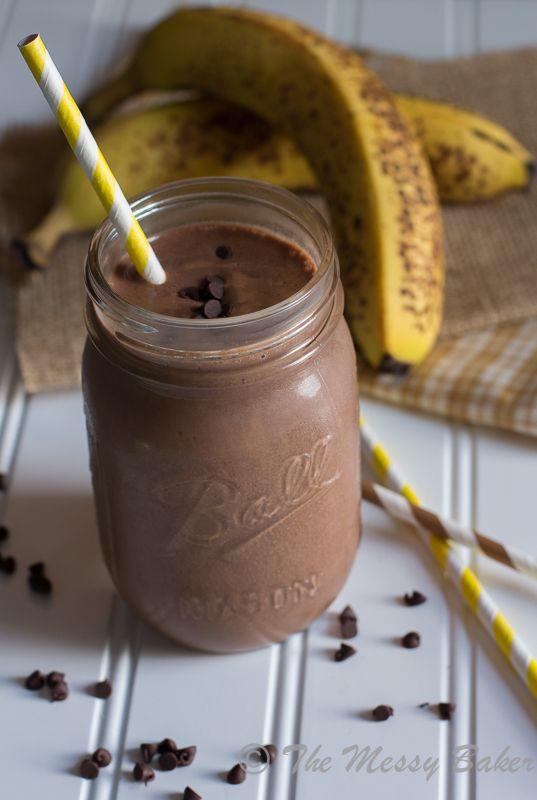 Skinny Chocolate Peanut Butter Banana Shake - The Messy Baker Blog