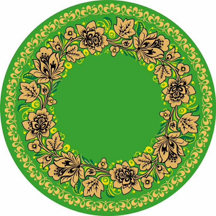 Folk Khokhloma painting from Russia. A round floral pattern in green, black and…