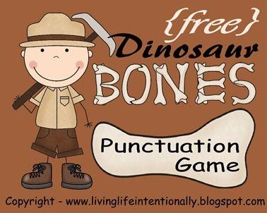Free Dinosaur Bones Printable Punctuation Game