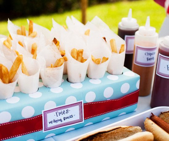 Wedding Day Kids Table Food -French Fry Cones  French fries with various dipping sauces are interactive and delicious.    Source: Hostess With the Mostess