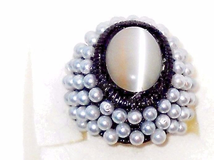 Cat's Eye Ring with glass Pearls in Black Stainless steel size 8  #Unbranded #SolitairewithAccents