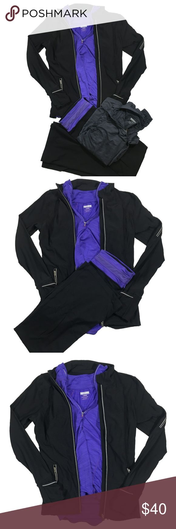 4 Piece Costco / Kirkland Workout Bundle - Brand: Kirkland / Costco  - Style: Athletic Wear  - Size: All size Large, except pants which are size Medium  - Color: Black / Purple / Gray / White (Reflective strips on jacket)  - Condition: Excellent; You'll probably mistake it for brand new! >>>> INCLUDES           1) Gray Quarter Zip           2) Purple Quarter Zip            3) Black Jacket           4) Black & Purple Yoga Pants   - Retail: $112  * Kirkland, Costco, Athletic Wear, Lululemon…