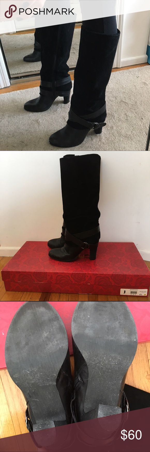 Black heeled boots Black suede heeled boots. Features ankle buckle and inside leg zipper closures. Size 8.5. Slightly worn soles and scuffed front (pictured). Carlos Santana Shoes Heeled Boots