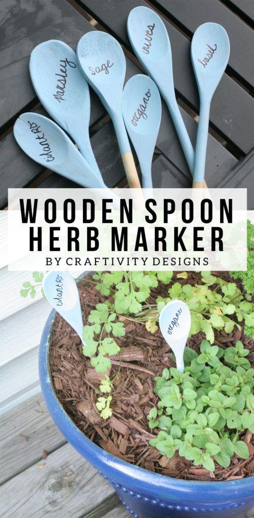 Wooden Spoon Herb Marker, DIY Herb Marker, Flower Marker, Vegetable Marker, by @CraftivityD