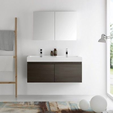 "Mezzo 48"" Modern Double Sink Bathroom Vanity Set in Grey Oak by Fresca   Discount Bathroom Vanities"