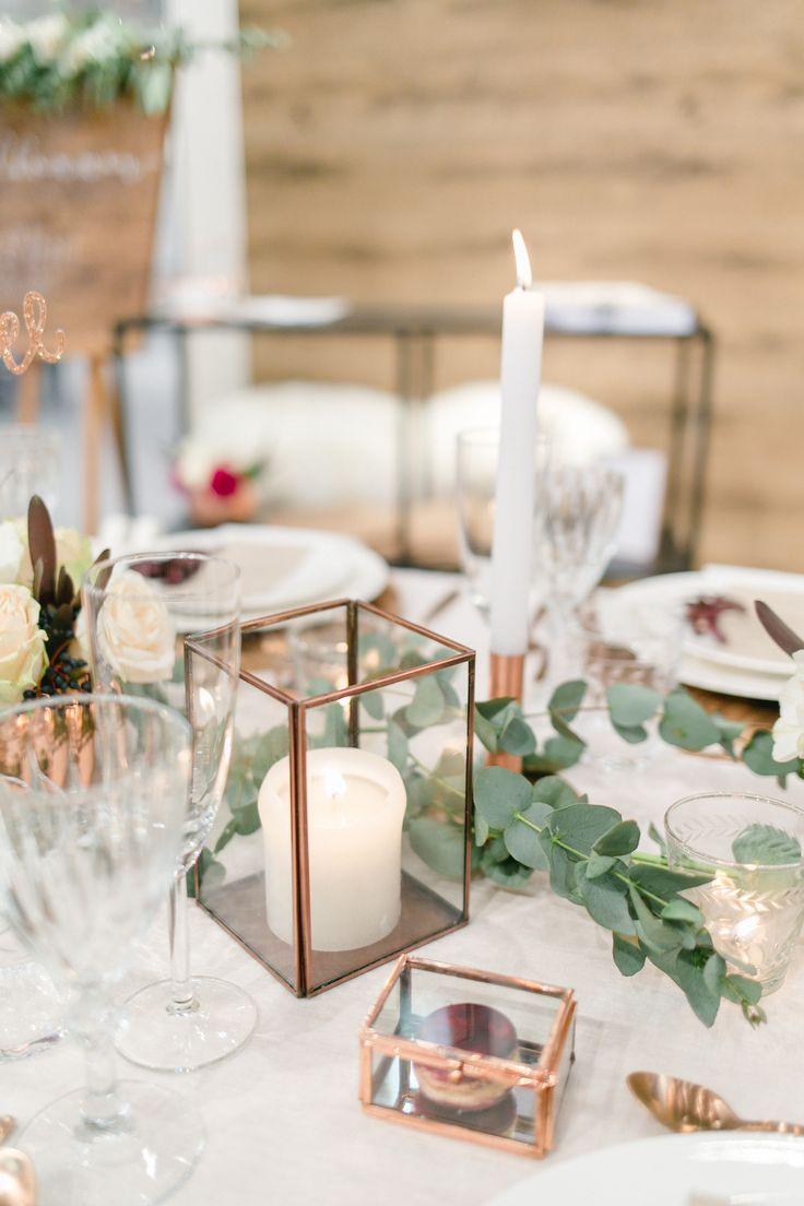Dekoration   Tischdeko   Kupfer   rustikal   Hochzeit   Blumen   Kerzen   Eukalyptus   Macaron   Gastgeschenk   Copper   Weddingtable