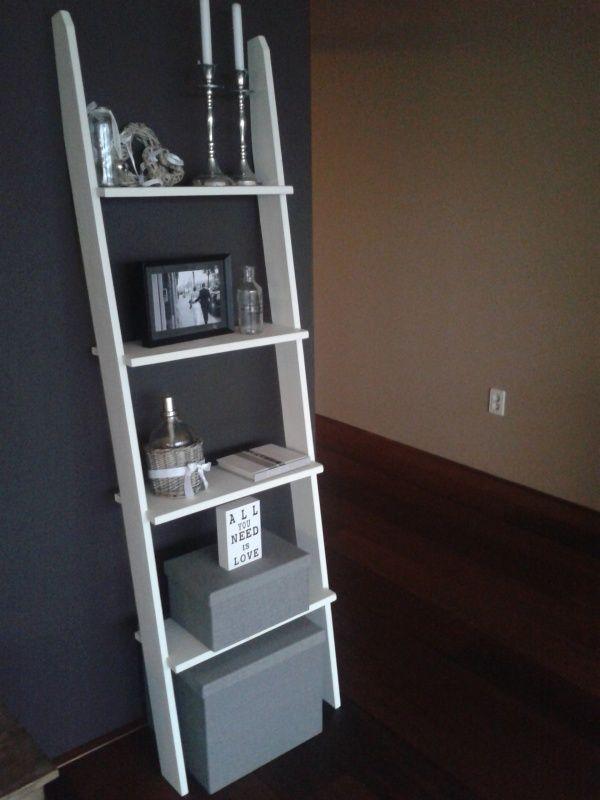 Voor boekjes ladderkast decoratie ladder in elke gewenste maat variant 2 interieur - Decoratie interieur trap schilderij ...