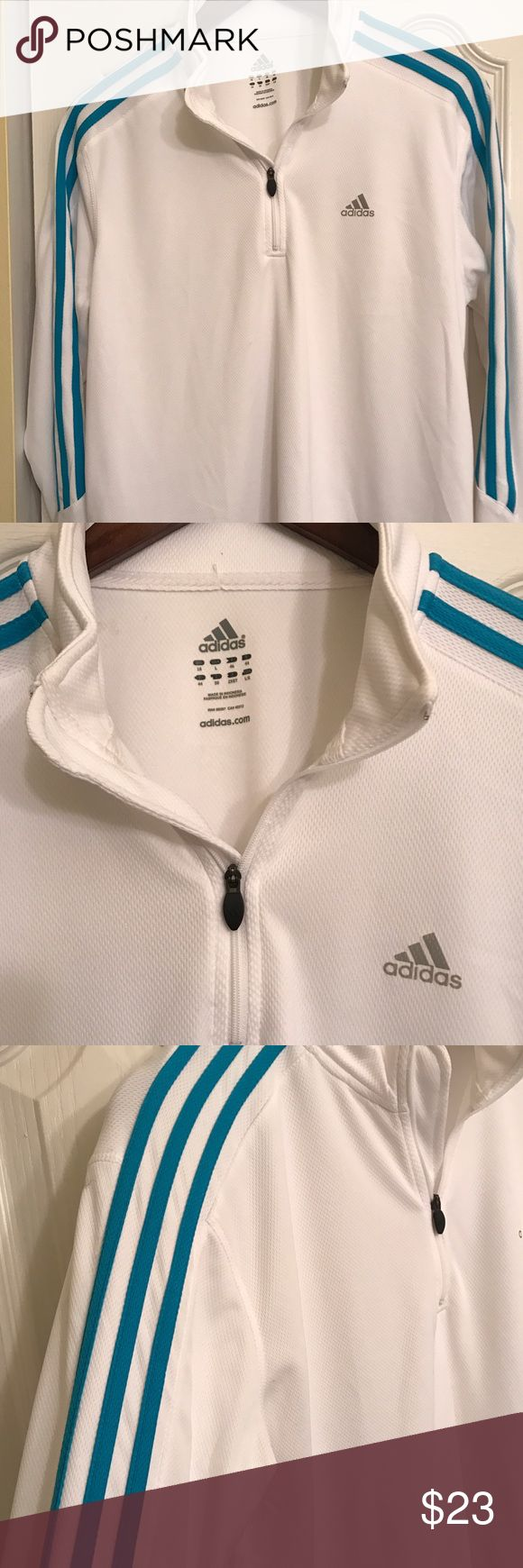 ADIDAS Climalite White & Aqua Half Zip Shirt This is all of the comfort and style you can expect from Adidas! Only worn a couple of times, there's a lot of life left in this shirt! The famous Adidas striping is a pretty aqua which really pops on this pristine white shirt. This shirt won't be around for long...! Adidas Tops Sweatshirts & Hoodies