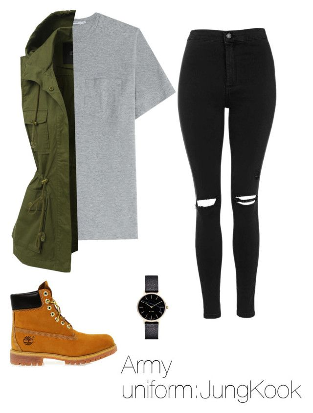 """""""Army uniform:JungKook"""" by mayseoki ❤ liked on Polyvore featuring Timberland, T By Alexander Wang, Topshop, LE3NO and Myku"""