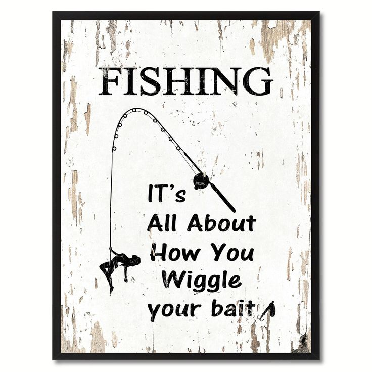 Fishing Its All About How You Wiggle Your Bait Saying Canvas Print Black Picture Frame Home Decor Wall Art Gifts