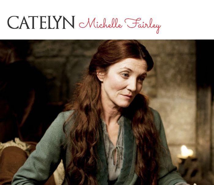 A mãe de Sansa, Catelyn Stark exibe um ruivo mais escuro, que quase se confunde com um castanho. Dependendo da luz o tom avermelhado se destaca ainda mais.