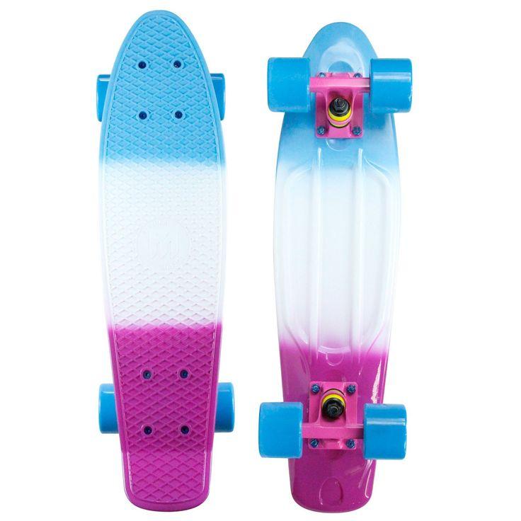 """Mayhem Blue White 22"""" 3D Skateboard"""