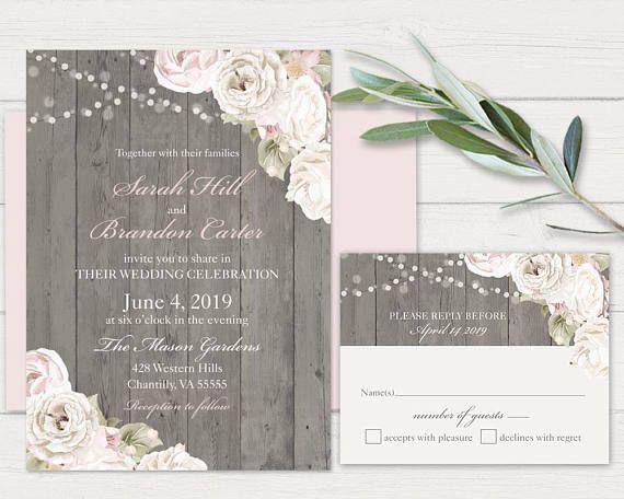 Rustic Wedding Invitation Printable Blush Wedding Invitations