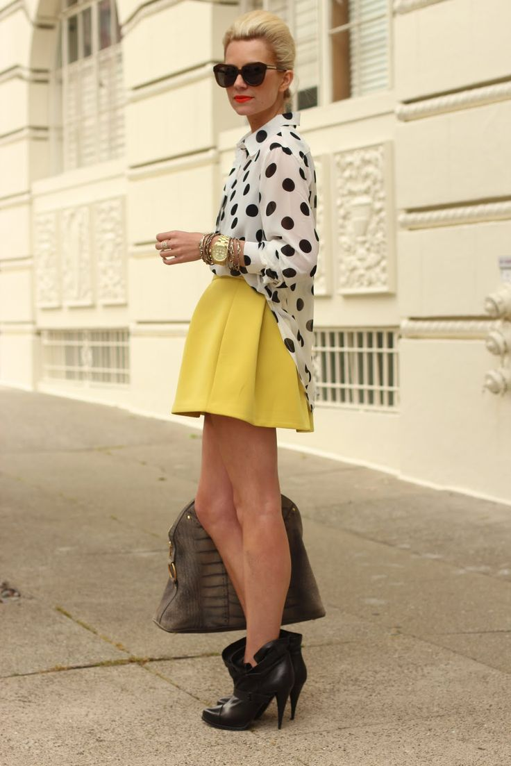 polka dot blouse, yellow skirt  pair with leather jacket for an edge.