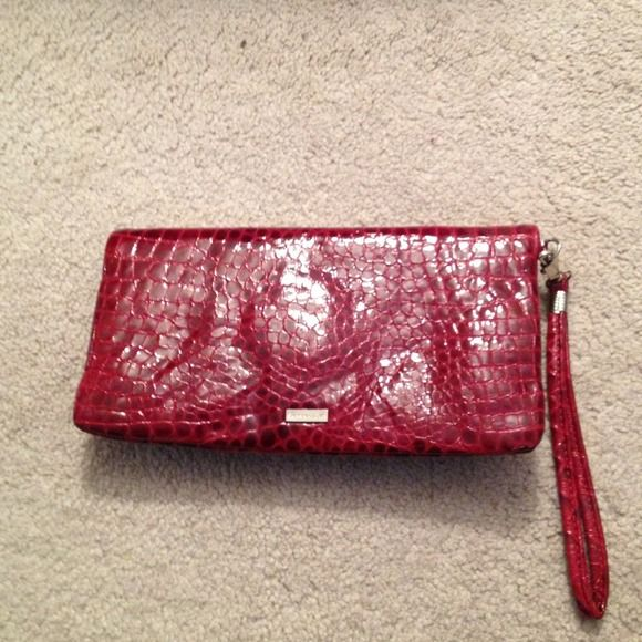 Sabrina Love clutch handbag Sabrina Love handbag clutch in red crocodile embossed leather , pink sued lining with inside pocket , magnet half way , buckle closer , never used new without tag sabrina Love Bags