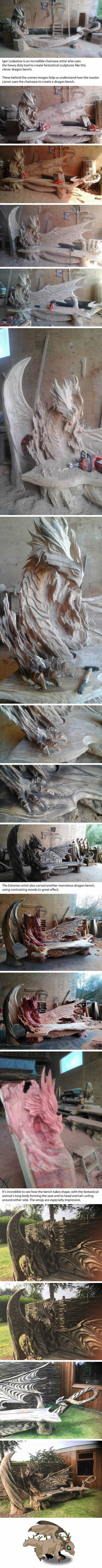 Artist Uses A Chainsaw To Carve An Incredible Dragon Bench